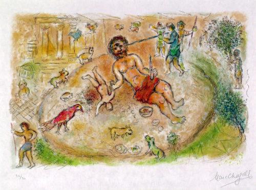 Polyphème, Marc Chagall, 1974-75, lithographie. A 13 (tome 1) ; Nice, Musée Chagall © musées nationaux du XXème siècle des Alpes-Maritimes/ Photo Patrick Gérin 2006 ; © 2019 ADAGP, Paris