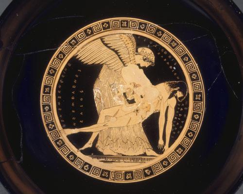 Eos et Memnon (intérieur), Douris, coupe, vers 490-480 avant J.C., H. 12 cm ; L. 36 cm ; D. 26,8 cm. Musée du Louvre – DAGER © RMN-Grand Palais (musée du Louvre) / Hervé Lewandowski