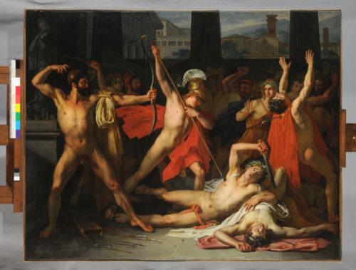 « Ulysse et Télémaque massacrant les prétendants de Pénélope » ; Pallière, Louis Vincent Léon 1812 (Prix de Rome) © Beaux-Arts de Paris, Dist. RMNGrand Palais / image Beaux-arts de Paris