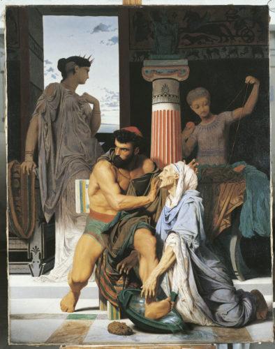 Ulysse reconnu par sa nourrice Euryclée, BOULANGER Gustave, 1849, huile sur toile. H. 147 cm ; L. 114 cm. ENSBA – Paris © Beaux-Arts de Paris, Dist. RMN-Grand Palais / image Beaux-arts de Paris