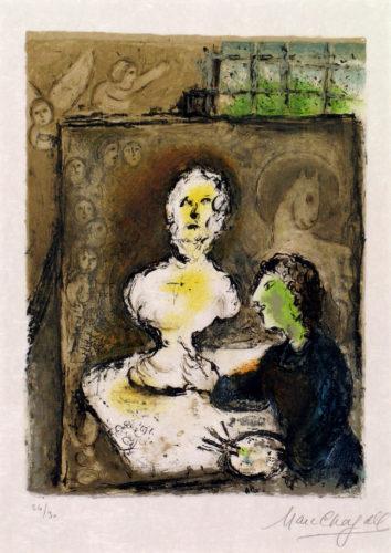 Frontispice, T.I, Marc Chagall, 1974, lithographie. A 1 ; Nice, Musée Chagall © musées nationaux du XXème siècle des Alpes-Maritimes/ Photo Patrick Gérin 2006 ; © 2019 ADAGP, Paris
