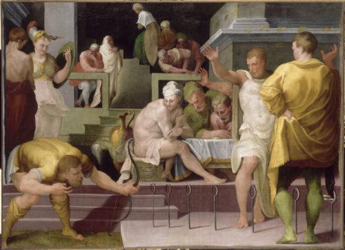 « Ulysse à Ithaque : le jeu de l'arc » ; Primaticcio Francesco ; dit le Primatice, fin 16e siècle. © RMN-Grand Palais (Château de Fontainebleau) / Gérard Blot