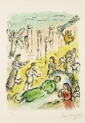 Le Lit d'Ulysse, Marc Chagall, 1974-75, lithographie. A 40 ; Nice, Musée Chagall © Photo François Fernandez, 2018 ; © 2019 ADAGP, Paris