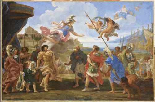 La Querelle d'Achille et Agamemnon, GAULLI Giovan Battista dit il Baciccio, huile sur toile, H. 172,2 cm ; L. 247,3 cm ; P. 10 cm (Dimensions avec cadre). MUDO – Beauvais © RMN-Grand Palais / Thierry Ollivier