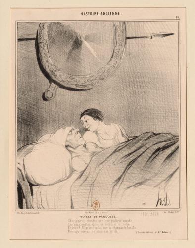 Honoré DAUMIER (1808-1879) Ulysse et Pénélope (planche n°14 de l'Histoire ancienne) 1842 Lithographie Paris, Bibliothèque nationale de France, département des Estampes et de la photographie © BnF