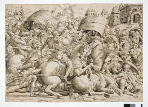 Bataille sous Troie, MIGNON Jean, eau-forte, H. 31,2 cm ; L. 44,2 cm. ENSBA – Paris © Beaux-Arts de Paris, Dist. RMN-Grand Palais / image Beaux-arts de Paris