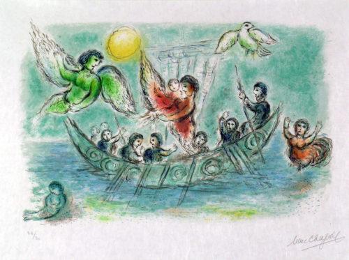 Ulysse et les Sirènes, Marc Chagall, 1974-75, lithographie. A 20 ; Nice, Musée Chagall © musées nationaux du XXème siècle des Alpes-Maritimes/ Photo Patrick Gérin 2006 ; © 2019 ADAGP, Paris