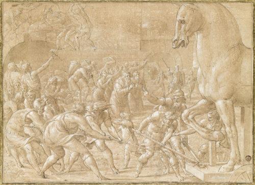 Les Troyens faisant entrer dans leurs murs le cheval de bois, PENNI Luca, dessin, plume et encre brune, H. 32,5 cm x L. 44,5 cm. Musée du Louvre – DAG © RMN-Grand Palais (musée du Louvre) / René-Gabriel Ojéda
