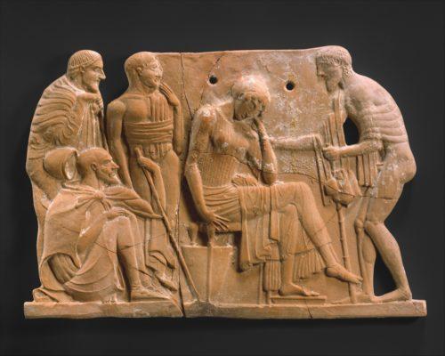 « Plaque architecturale : Ulysse retrouvant Pénélope » vers 460–450 av J.-C. © The Metropolitan Museum of Art