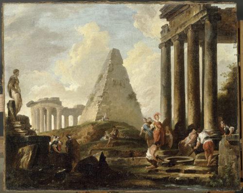 « Alexandre le Grand devant le tombeau d'Achille » ; Robert, Hubert, vers 1754 © RMN-Grand Palais (musée du Louvre) / Gérard Blot